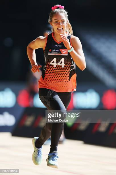 Bridie Kennedy of the Dandenong Stingays takes part in the YoYo run during the AFLW Draft Combine at Etihad Stadium on October 4 2017 in Melbourne...