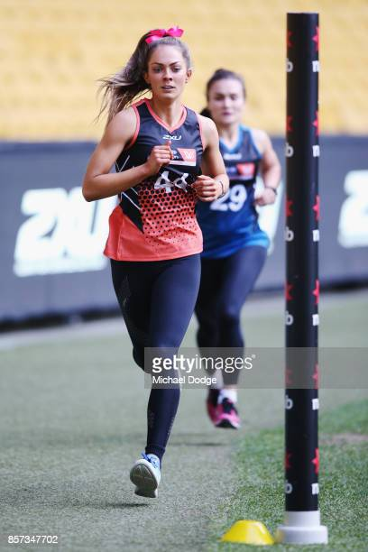 Bridie Kennedy of the Dandenong Stingays wins the second 2km time trial run during the AFLW Draft Combine at Etihad Stadium on October 4 2017 in...