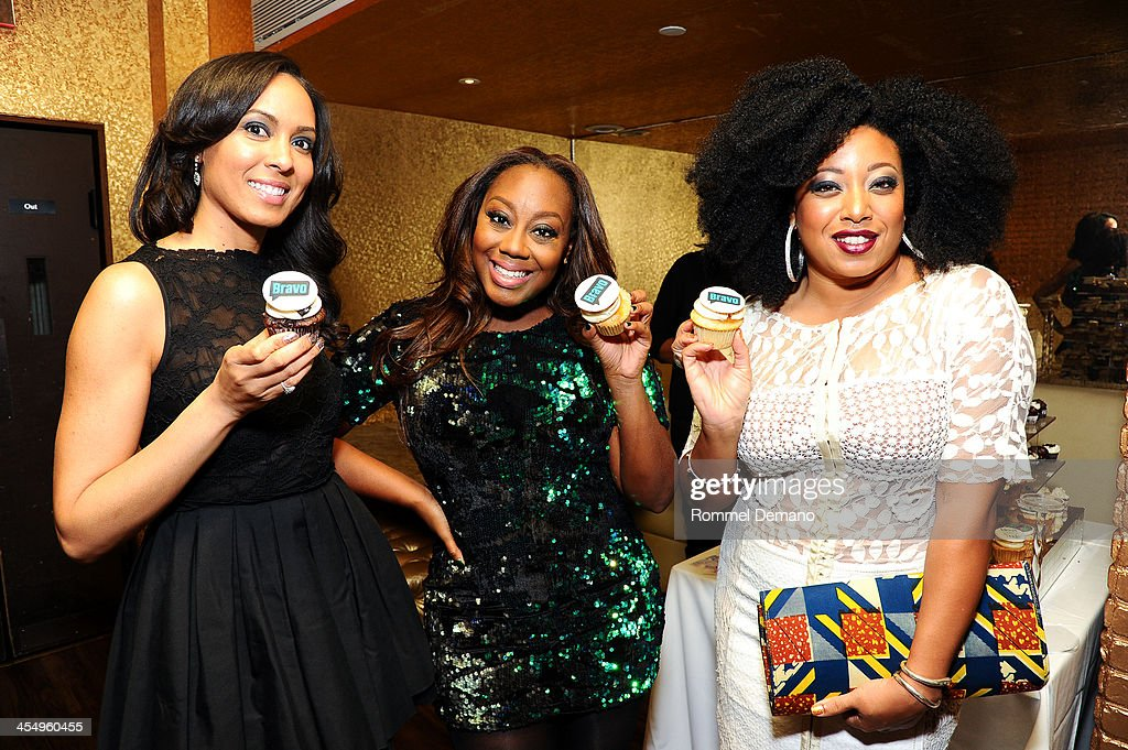Brie Bythewood, Geneva S. Thomas and Demetria Lucas attend the season premiere of 'Blood, Sweat and Heels' at Kristalbelli on December 10, 2013 in New York City.