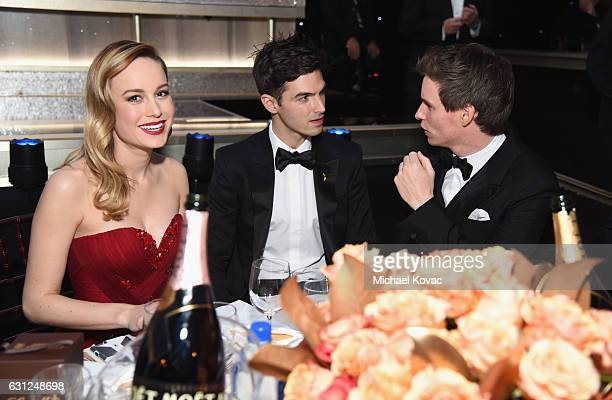 Brie Larson Alex Greenwald and Eddie Redmayne attend the 74th Annual Golden Globe Awards at The Beverly Hilton Hotel on January 8 2017 in Beverly...