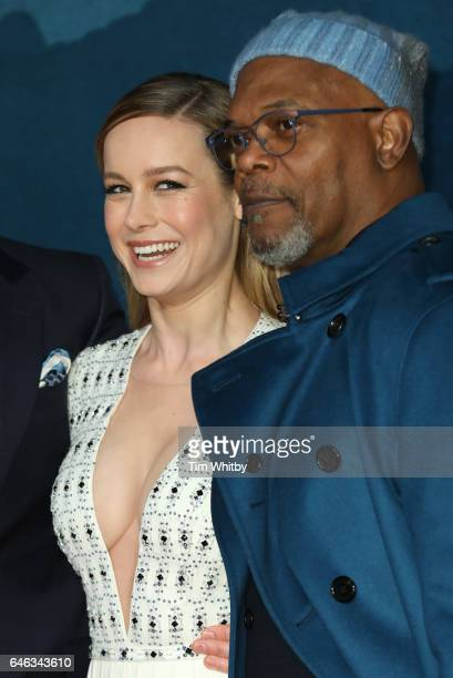Brie Larson and Samuel L Jackson attend the European premiere Of Kong Skull Island at Cineworld Leicester Sqaure on February 28 2017 in London United...