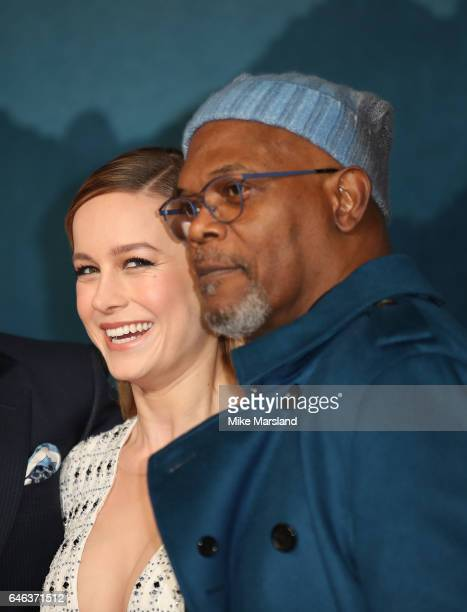 Brie Larson and Samuel L Jackson attend the European premiere Of 'Kong Skull Island' on February 28 2017 in London United Kingdom