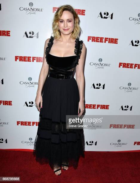 Brie Larson arrive at the Premiere Of A24's 'Free Fire' at ArcLight Hollywood on April 13 2017 in Hollywood California