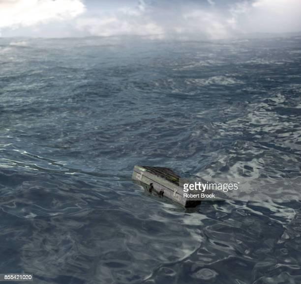 Briefcase adrift in the sea