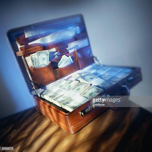 Briefcase filled with bundles of US money