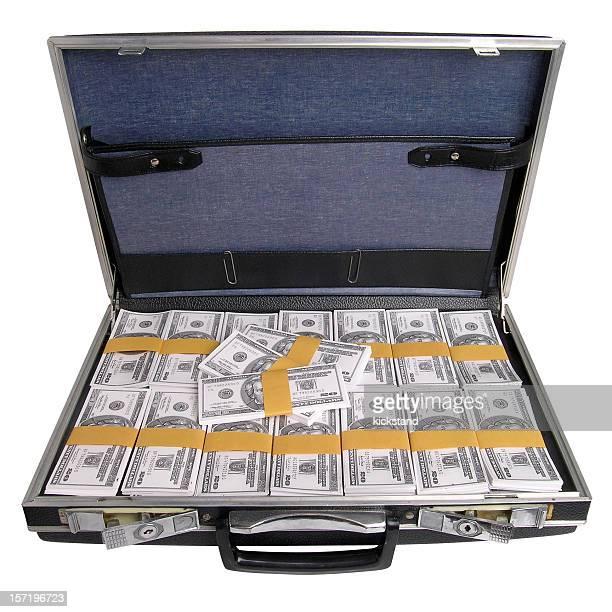 Aktentasche mit Geld mit clipping path