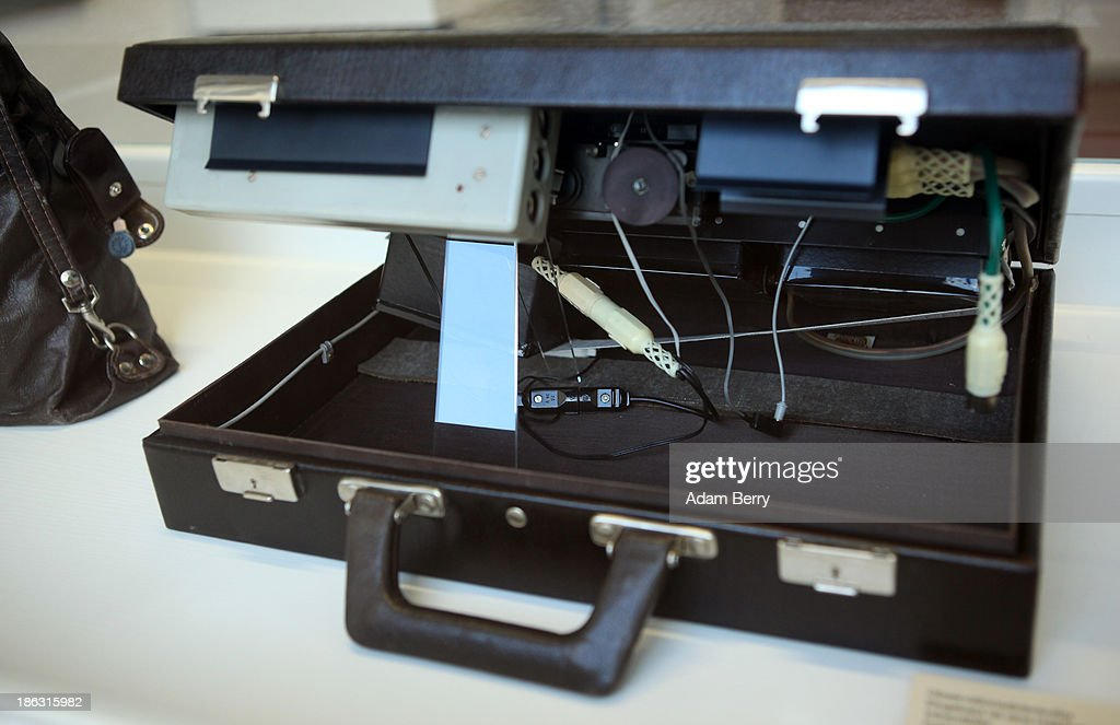 A briefcase hiding infrared camera flashes for taking discreet photographs at night is displayed at the Stasi (Staatssicherheit), or East German Secret Police Museum, on October 30, 2013 in Berlin, Germany. German officials have maintained that they had strong evidence indicating that the American Nation Security Agency (NSA) has eavesdropped on Chancellor Angela Merkel's mobile phone, surveillance that the U.S. has since claimed is essential to its security operations and is standard procedure. The charge has caused a furor among political leaders across Europe, but is particularly troublesome to those who, like Merkel, grew up in the former East Germany and have recent memories of being spied upon by their own government. In response to anger over the matter from Germany, Mexico, France, Spain and Brazil ,the U.S. Senate Intelligence committee is currently conducting a major review of such surveillance operations, while the NSA insists that any such data collected on ordinary citizens turned over to the agency had been conducted by the local allied governments themselves.