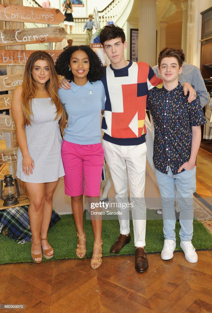 Brielle Barbusca, Yara Shahidi, Aidan J. Alexander and Thomas Barbusca at the Brooks Brothers Beverly Hills summer camp party benefitting St. Jude Children's Research Hospital at Brooks Brothers Rodeo on June 3, 2017 in Beverly Hills, California.