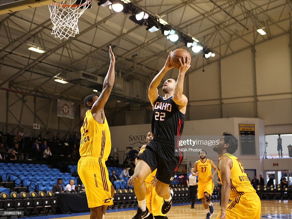 Brien of the Idaho Stampede drives the basket for a layup against the Canton Charge during an NBA DLeague game on January 6 2016 in Santa Cruz...