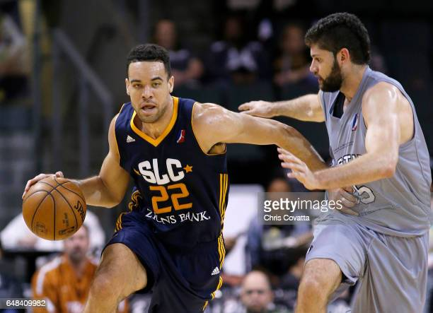 Brien of the Salt Lake City Stars drives with the ball against Patricio Garino of the Austin Spurs at the HEB Center At Cedar Park on March 5 2017 in...