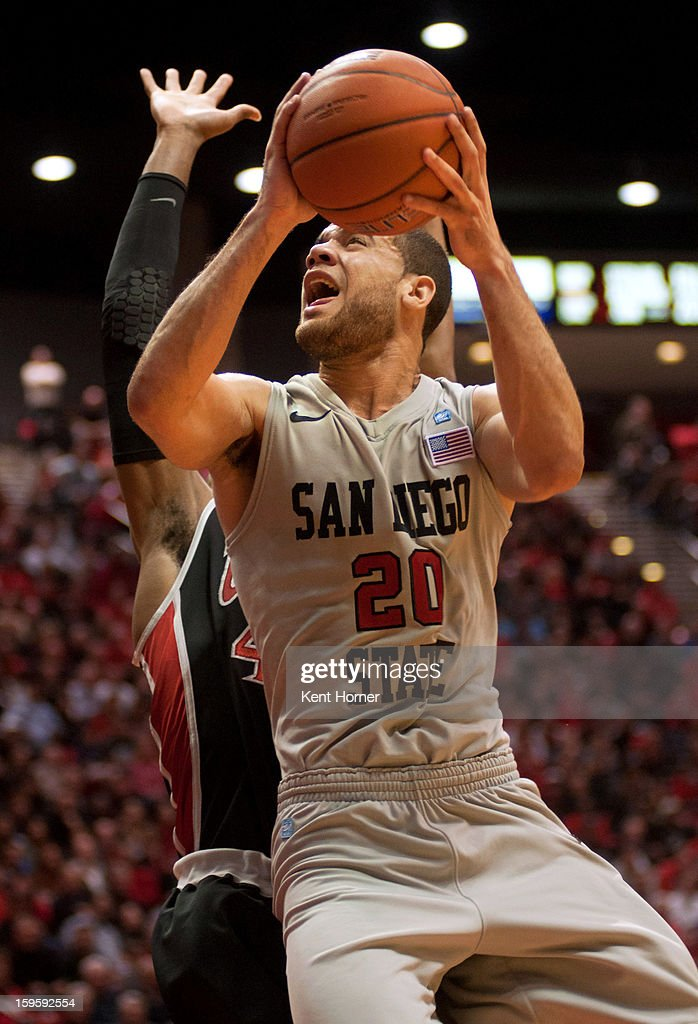 Brien #20 of the San Diego State Aztecs shoots the ball in the second half of the game against the UNLV Runnin' Rebels at Viejas Arena on January 16, 2013 in San Diego, California.
