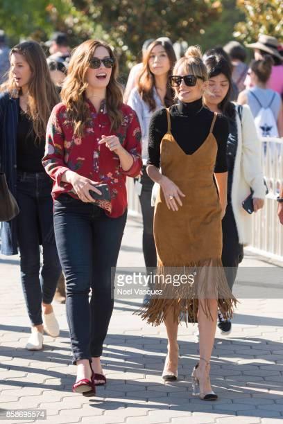 Briga Heelan and Nicole Richie visit 'Extra' at Universal Studios Hollywood on October 5 2017 in Universal City California
