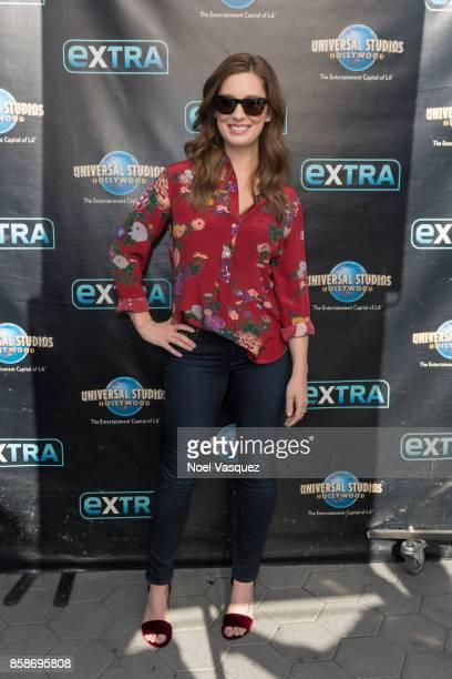 Briga Heelan visits 'Extra' at Universal Studios Hollywood on October 5 2017 in Universal City California