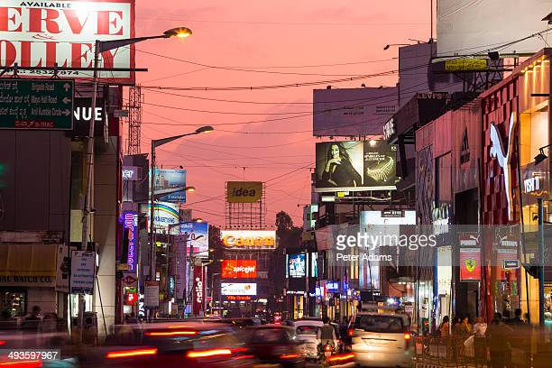 Brigade Road at dusk, Bangalore, India