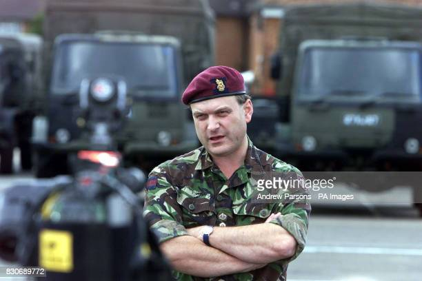 Brigadier Barney WhiteSpunner the commander of the 16 Air Assault Brigade at Goojerat Barracks Colchester preparing to head out to Macedonia after...