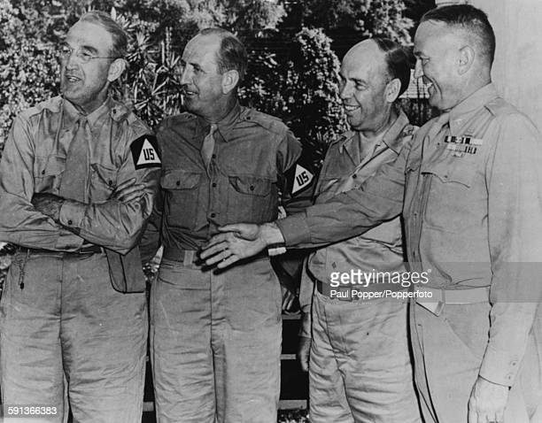 Brigadier General A R Wilson with US Senators James M Mead of New York Richard Russell Jr of Georgia and Owen Brewster of Maine in uniform during...