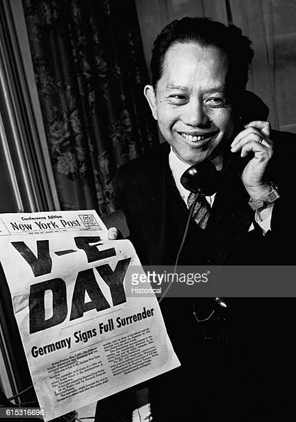 Brigadier General Carlos P Romulo Resident Commissioner of the Philippines to the US smiles as he reads the Associated Press announcement of...