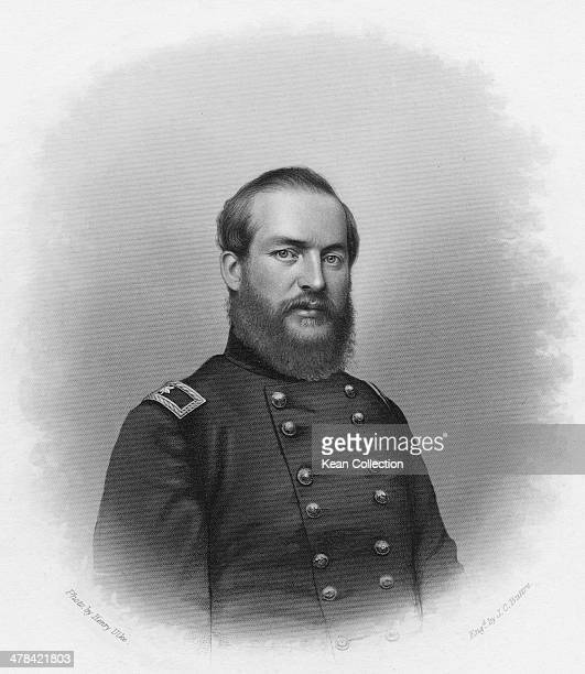 Brigadier General James Abram Garfield later the 20th President of the United States during the American Civil War circa 1865 Engraving by J C Buttre...