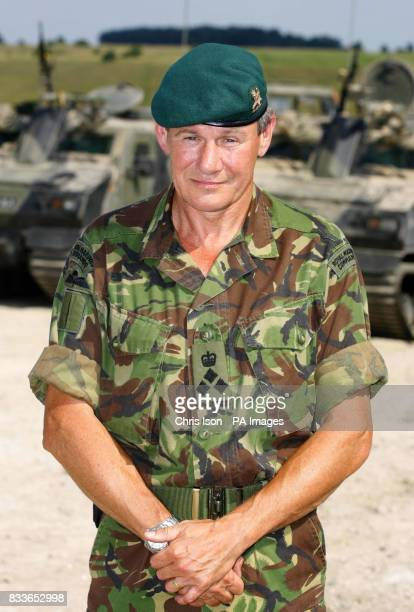 Brigadier Jerry Thomas on Salisbury Plain in Wiltshire where 3 Commando Brigade Royal Marines were watched by Armed Forces Minister Adam Ingram