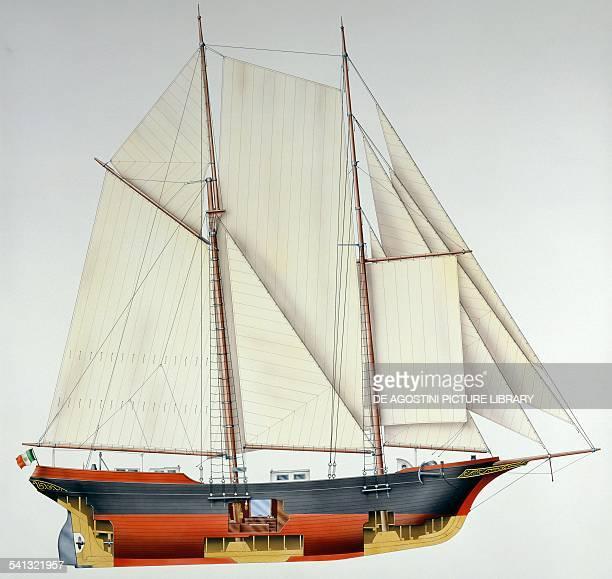 Brigantine schooner Barbarossa disegno Italy 20th century