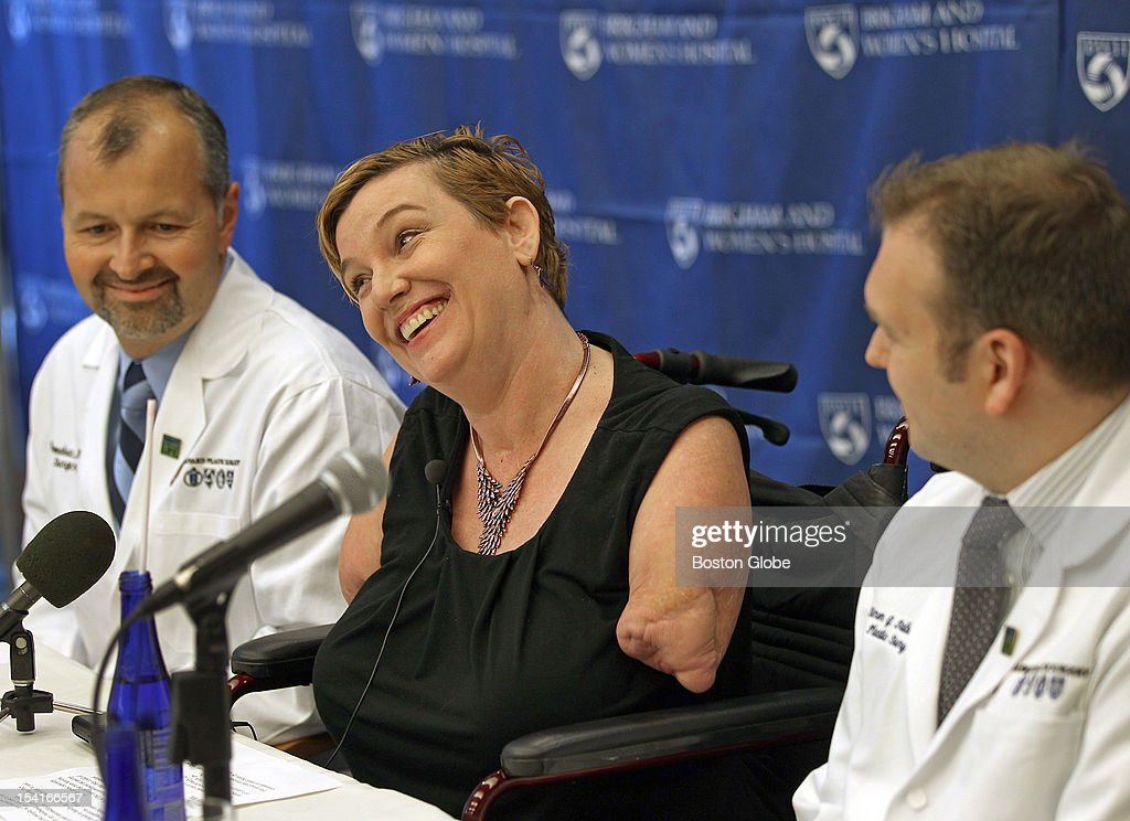 Brigham and Women's Hospital announced this morning they have listed a quadruple arm amputee from Texas for a double above-the-elbow arm transplant, which they say would be nation's first. All smiles while having a press conference with patient Katy Hayes and doctors: Dr Bohdan Pomahae and Dr Simon G. Talbot to discuss her reasons and the procedure at press conference.