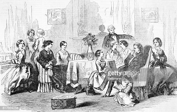 Brigham Young and his wives en famille Engraving 1857