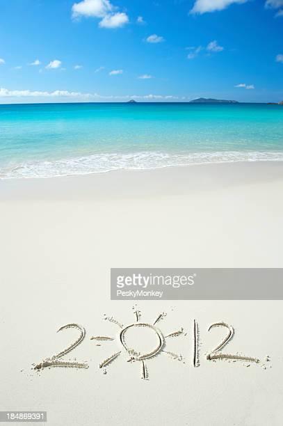 Bright 2012 Message avec soleil des tropiques sur la plage