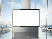 Bright banner in the airport with big windows. 3d rendering