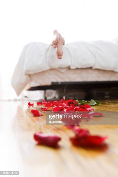 Bright Bedroom with Trail of Rose Petals, Copy Space