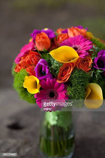 Bright colored wedding bouquet