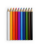 Bright Colorful Colored Pencils Forming A Horizontal Raw, Pencils are casting shadows and  isolated on white background. Clipping path is also included. Great use for art, education and back to school