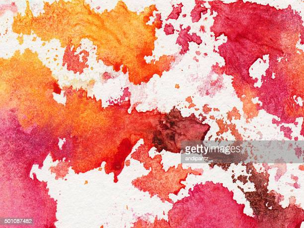 Bright colorful splotches of paint on a white background