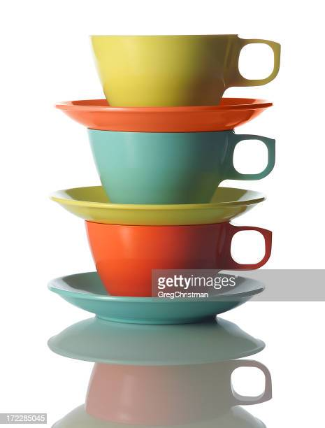 Bright cups and saucers