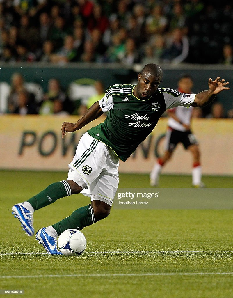 Bright Dike #19 of the Portland Timbers kicks the ball against DC United on September 29, 2012 at Jeld-Wen Field in Portland, Oregon.