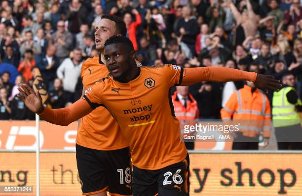 Bright Enobakhare of Wolverhampton Wanderers celebrates after scoring a goal to make it 10 during the Sky Bet Championship match between...