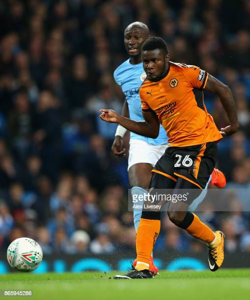Bright Enobakhare of Wolverhampton Wanderers misses a goal chance during the Carabao Cup Fourth Round match between Manchester City and Wolverhampton...