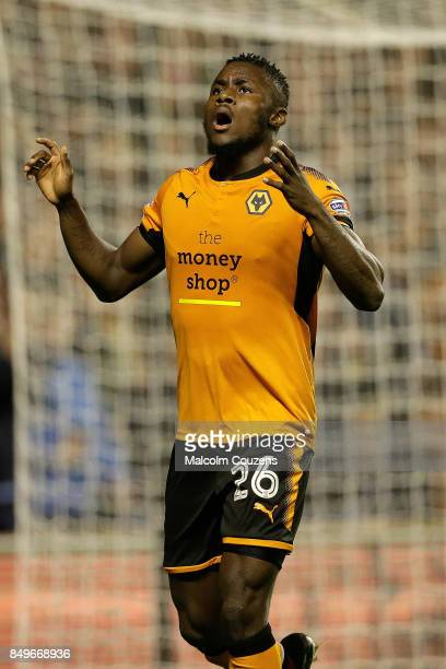 Bright Enobakhare of Wolverhampton Wanderers reacts after missing a shot at goal during the Carabao Cup tie between Wolverhampton Wanderers and...