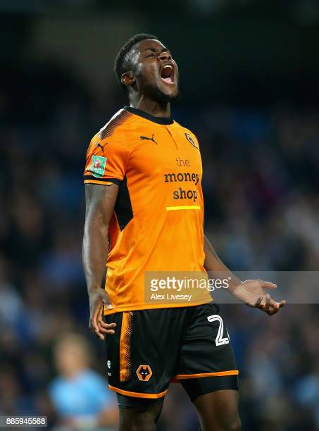 Bright Enobakhare of Wolverhampton Wanderers reacts after missing a goal scoring chance during the Carabao Cup Fourth Round match between Manchester...