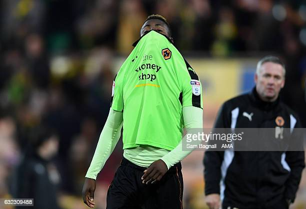 Bright Enobakhare of Wolverhampton Wanderers reacts to the defeat during the Sky Bet Championship match between Norwich City and Wolverhampton...