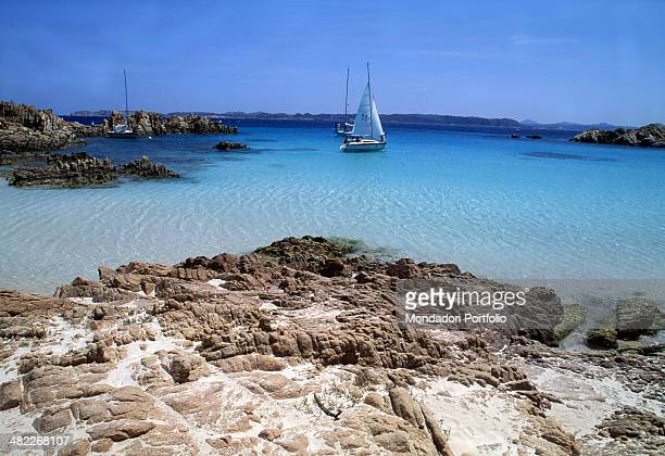 Bright glimpse of the Budelli Beach in the crystalline sea the island belonging to La Maddalena Archipelago is inhabited by an only person that is...