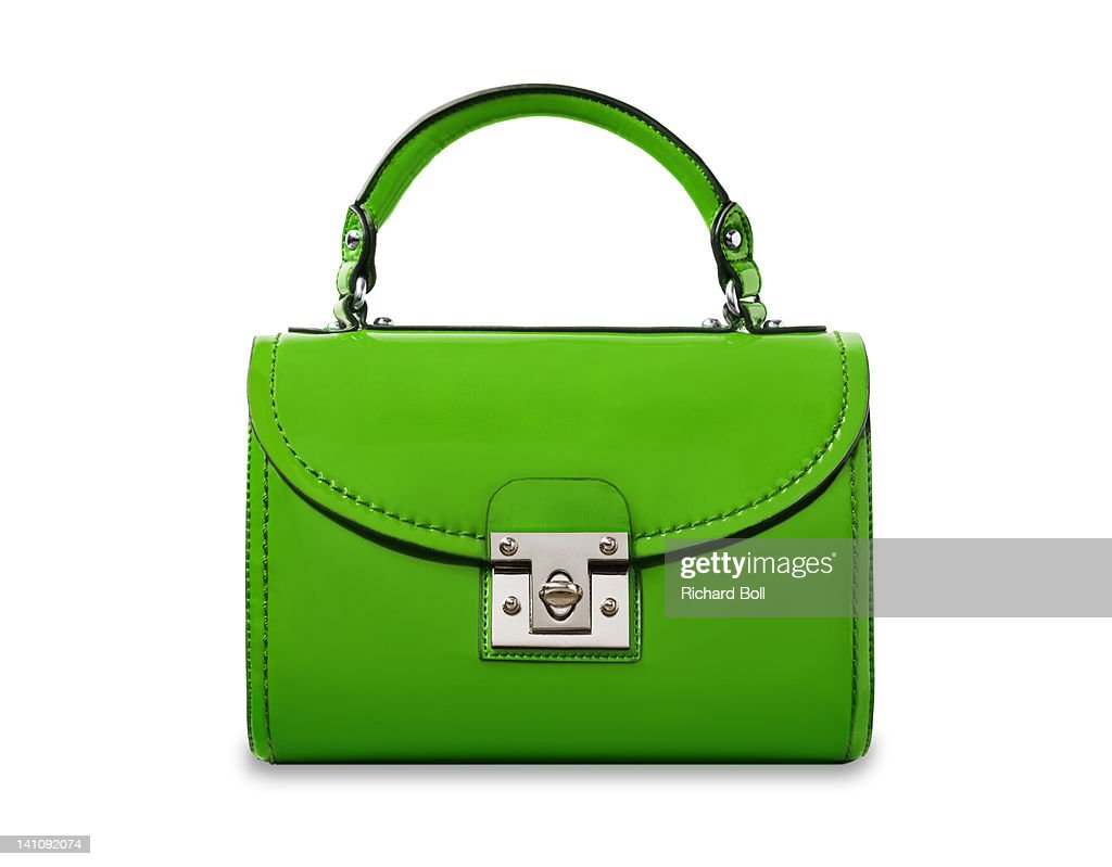 A bright green handbag on a white background.