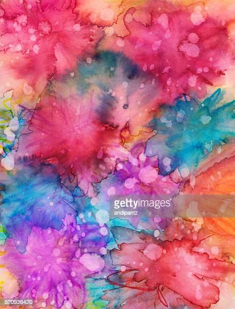 鮮やかな手描きの水彩、インクの質感のある 背景 '