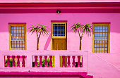 House façade details in Bo-Kaap area of Cape Town, South Africa
