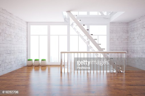 Bright interior with staircase : Stock Photo