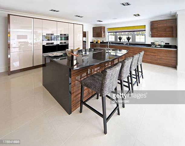 bright kitchen with large island