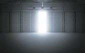 Bright light coming through open hangar doors. 3d rendering