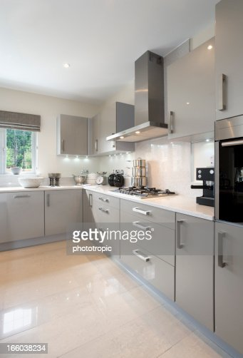 Light Grey Kitchen bright light grey kitchen stock photo | getty images