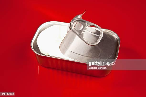 Bright light inside an open sardine tin