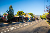 The country town of Bright early on a cool autumn morning along the Great Alpine Rd in Victoria, Australia