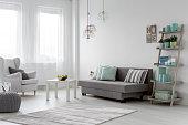 Minimalist arrangement in trendy bright mint flat interior